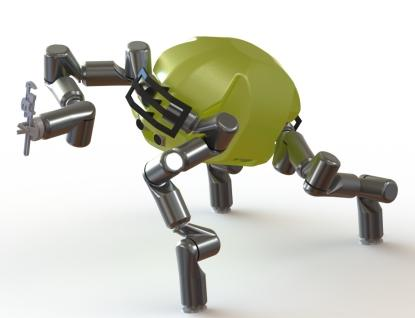 Jet Propulsion Lab, RoboSimian is the only four-legged robot, although they are dexterous to be called hands as well. Using three legs to brace itself, the fourth leg is free to handle tools.  (Source: DARPA)
