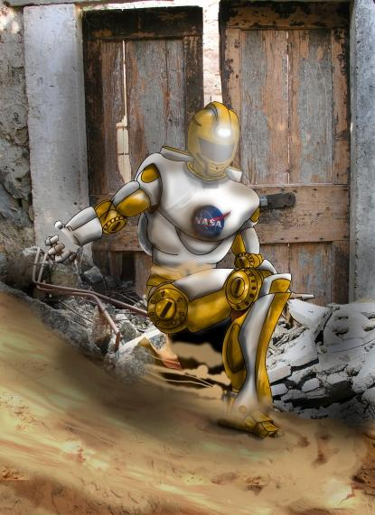 NASA's Johnson Space Center is keeping its card close to its vest, but has promised to deliver a humanoid robot derived from its Robonaut that excels at 'perception-intensive' tasks.  (Source: DARPA)