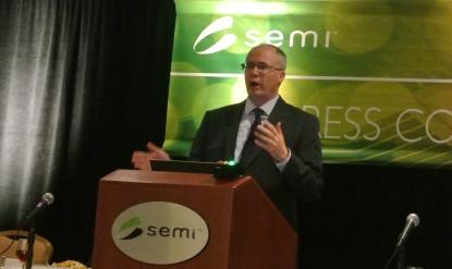 Dan Tracy, senior director of industry research and statistics, speaks at the Semicon West press conference Monday.
