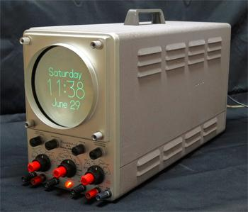The Oscilloclock uses Lissajous curves to form numbers,letters, lines, and circles.