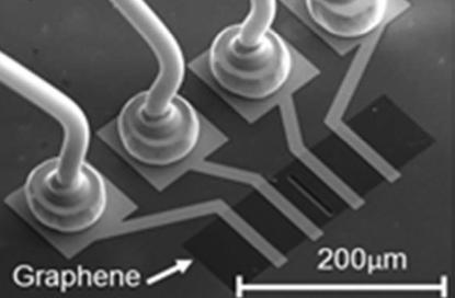 Graphene strain gauge (black) here shown in a scanning electron microscope (SEM) image is seen in sharp contrast to the surrounding silicon dioxide (SiO2) layer (grey).
