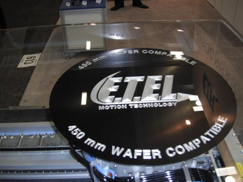 The move to 450mm is underway and many exhibitors had their latest products supporting 450mm wafers on display.  Here we see one of ETEL's 450mm-compatible, fully integrated motion systems used for wafer inspection applications.