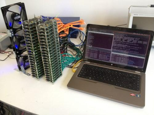Laptop connected to a 42-board, 756-CPU Parallella cluster, which consumes less than 500W!