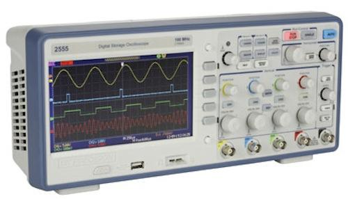 The B&K Precision 2559 DSO performs measurements over four channels with 300 MHz bandwidth.