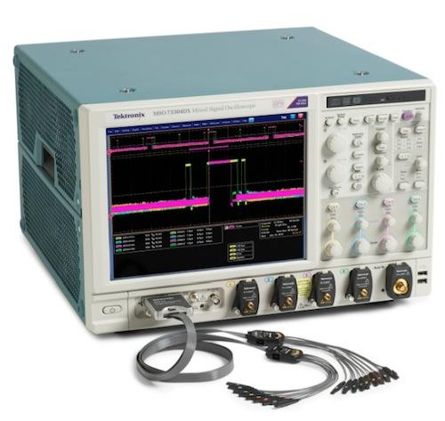 Tektronix MSO/DPO70000DX series of performance oscilloscopes features models with 23GHz, 25GHz, and 33GHz bandwidth and enhanced tools for debugging digital and analog circuits.
