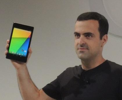 A Google product manager displays the new Nexus 7.