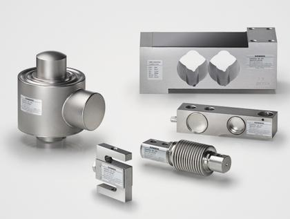 Figure 2: Clockwise from top right: single point, shear beam, bending beam, tension, and compression load cells from Siemens.
