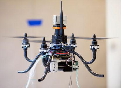 University of Michigan engineers took first place at last year's  International Aerial Robotics Competition with a flying robot that came closest to completing all the tasks.(Source: University of Michigan)