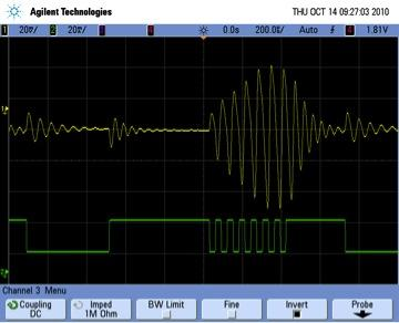 Figure 4: Step load response of a LM317 voltage regulator also shows the two ringing frequencies resulting from each of the two load currents in the step.  This figure also shows the impact of setting the step rate equal to the resonant frequency.