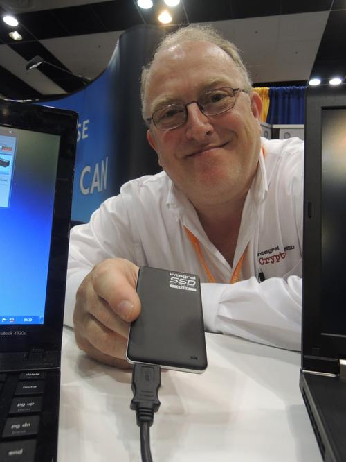 Patrick Warley, head of R&D for Integral Memory plc, shows the 512Gbyte USB 3.0 secure solid-state drive he helped design.