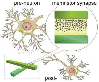 Professor Wei Lu's neural network image processor will connect artificial neurons using a crossbar (lower left) of memristors with migrating oxygen vacancies (upper right) in tungsten oxide to adaptively change its synaptic connection strengths.