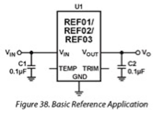 One of the two schematics in the datasheet showing the recommended 0.1uF output capacitor.