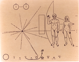 Pioneer plaque with directions to its origin, us.