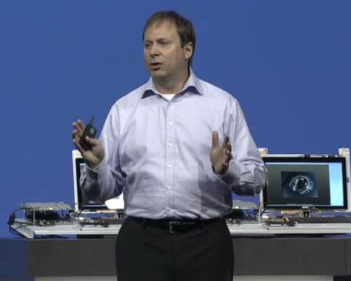 Kirk Skaugen, senior vice president and general manager of the PC Client Group, in his keynote at Intel Developer Forum.