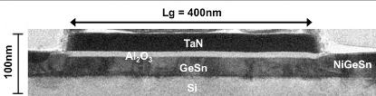 Transmission electron microscope image of NiGeSn metal source and drain MOSFET.