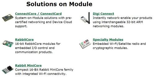 A small group of modular solutions from Digi, M2M device manufacturer, via www.digi.com/products/wireless-wired-embedded-solutions/solutions-on-module