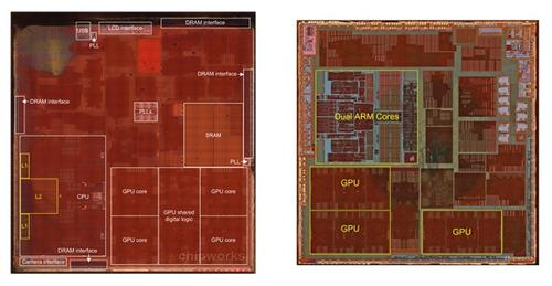 The Apple A7 (left) has a very different CPU layout to the A6 (right). 