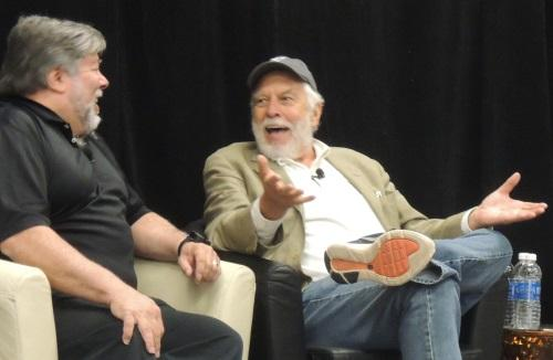 Wozniak (left) and Bushnell share a laugh at C2SV.