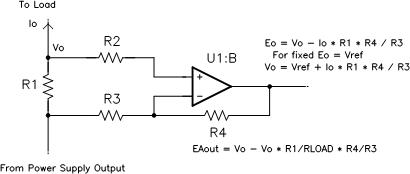 A single op-amp can compensate for cable drop. (View the full-size image.)