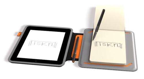 The iSketchnote iPad cover digitizes anything written on a plain piece of paper (right) and duplicates it on the iPad screen (left).