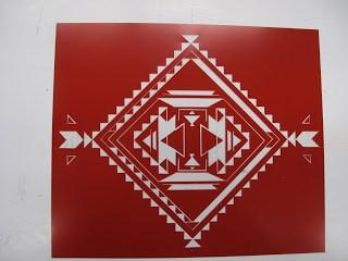 A graphic design on a sheet of Rubylith (I couldn't find a PCB design anywhere!).