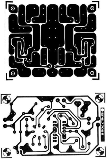 Elektor's early PCB style (top) and later style (bottom).