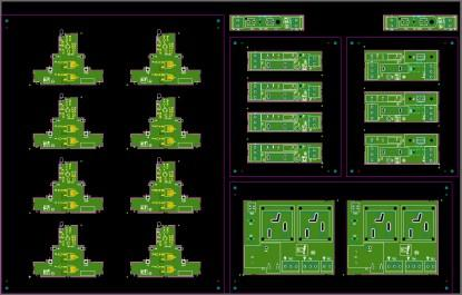 Figure 1. A mixed prototype panel with four totally different PCBs. (Click here to see a larger, more detailed image.)
