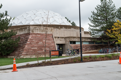This is the outside of our building. It was constructed in 1975 with a grant from Wallace Fiske. We're on campus at the University of Colorado at Boulder.