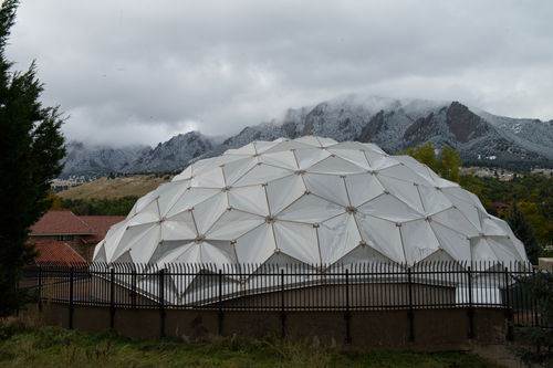 The dome with the Flatirons in view