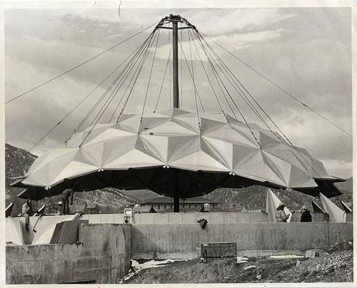 Installing the dome in 1974.