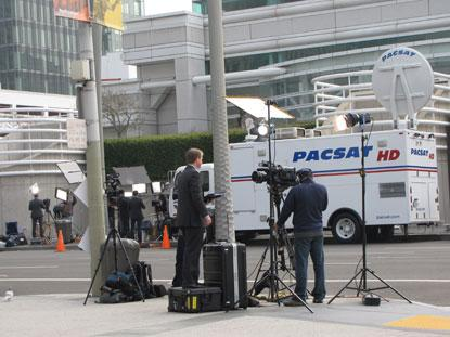 Keeping the press employed: Media preparations before Apple's product announcement today in San Francisco.(Source: EE Times)