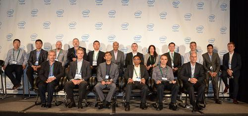 Why are these chief executive officers smiling? They are CEOs of the companies in which Intel just invested $65 million, along with with Arvind Sodhani, president of Intel Capital and Intel executive vice president.