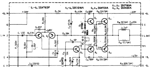 Part of the schematic I didn't have back then - showing the power amp for one channel.