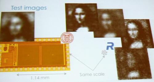 The image (top center) is the best Rambus delivered to date from an 80 micron device, but the company expects to double resolution with advanced math. Click here to enlarge.