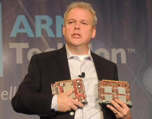 HP's Fink showed Moonshot server cartridges from Applied Micro and Calxeda (pictured here), as well as one from TI.