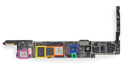 A slightly updated Apple A7 SoC is outlined in red. Click here to enlarge. </a