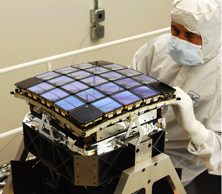 Kepler focal plane array of CCD wafers, equivalent to a 95 Megapixel camera. View larger image.  (Photo courtesy of NASA)