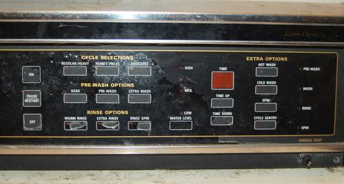 The dryer control panel, after over 18 years of wear and grime.