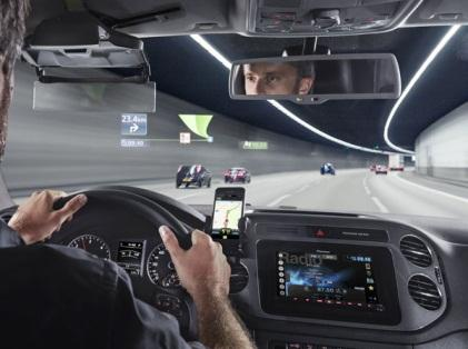 This fall in Europe, Pioneer rolled out the NavGate after-market HUD, based on Texas Instruments' DLP projector. This device, priced at around $1,000, combines augmented reality with smartphone connectivity. Pioneer says it offers the virtual equivalent of a 30-inch display hoveringa few feet in front of the hood.