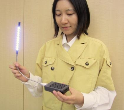Rohm's mobile fuel cells can light up LED lights in emergency.