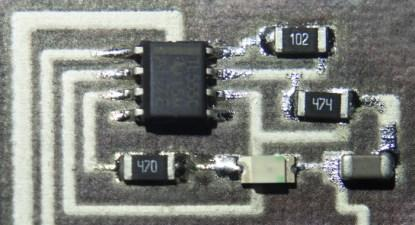 Close up of a surface mount circuit printed directly onto paper.