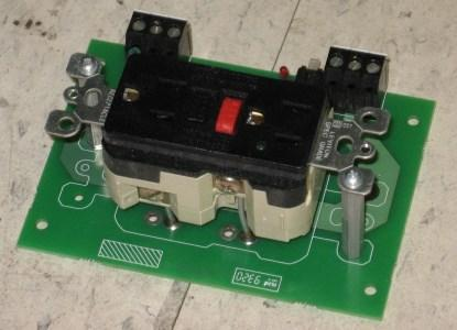 Figure 5. Dual socket US power outlet with earth-leakage mounted on a PCB.