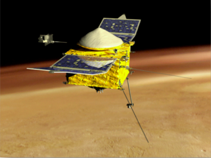 Artist concept of MAVEN spacecraft in orbit over Mars, using its aerodynamic shape to stabilize it on its deep dips. (Source: LASP, University of Colorado, Boulder)