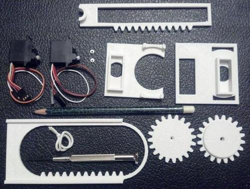 All of the components laid out. (Source: Plotterbot.com)