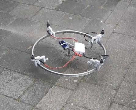 End result of DIY Drone Kit. Yes, that is a bicycle wheel. (Source: Instructables.com)