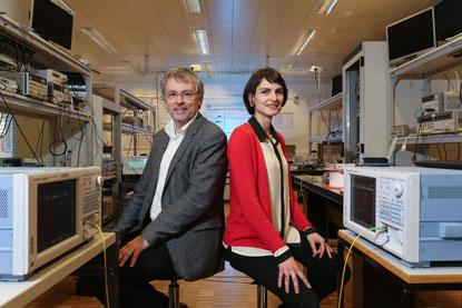 EPFL research team of Luc Thevenaz and Camille Bres claim to pack 10-times as much information in conventional optical fibers. (Source: EPFL)