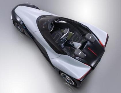 Nissan's BladeGlider concept car is 3.3 feet wide at the frontwheels and six feet wide at the rear.(Source: Nissan Motor Co.)
