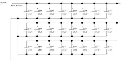 An example decoupling capacitor network (click here for a larger version).