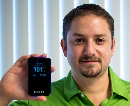 Jose Bohorquez's Aim is no iPhone. It's a consumer device for measuring muscle and fat tissue.