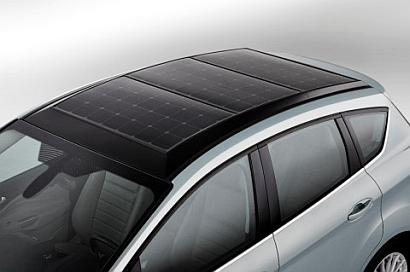 Ford's C-MAX Solar Energi Concept hybrid vehicle has a rooftop solar panel system that uses a Fresnel lens to concentrate sunlight onto the solar cells to boost the sunlight impact by a factor of eight. (Courtesy Ford)